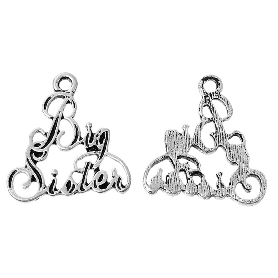 Big Sister Charm Antiqued Silver Sister Charm Sister Pendant Cursive Word Charm Family Charm 7/8