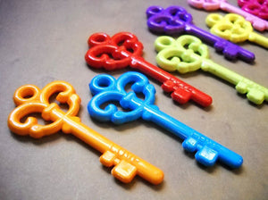 Key Charms Key Pendants Rainbow Key Pendants Key to My Heart Assorted Keys Skeleton Keys Assorted Pendants 4 pieces