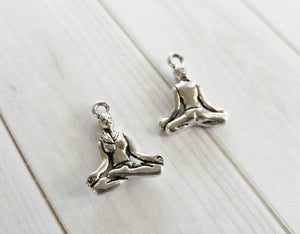 Yoga Charms Antiqued Silver Charms Meditation Charms Double Sided Yoga Pendants Yoga Pose Charms Zen Charms 2 Sided Charms 10pcs