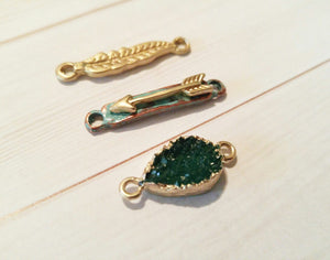 Gold Connector Charms Feather Charm Arrow Charm Druzy Pendant Green Drusy Patina Charms Set