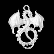 Load image into Gallery viewer, Dragon Pendant Dragon Charm Silver Dragon Charm Fairy Tale Charm Fairy Tale Pendant Mythical Charm Fairytale Charm Mythical Pendant