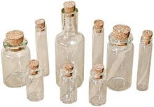 Load image into Gallery viewer, Glass Vials with Corks Glass Bottles For Necklaces Beads Assorted Styles and Sizes Apothecary Vials Potion Vials 9 Pieces