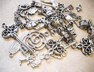 Assorted Charms Pendants Antiqued Silver Charms Mixed Set DESTASH Lot BULK Charms 50 pieces