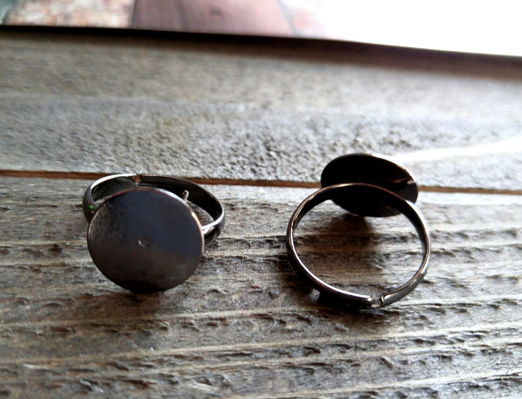 Ring Blanks Black Blank Rings Adjustable Ring Blanks Wholesale Rings Black Rings 2pcs