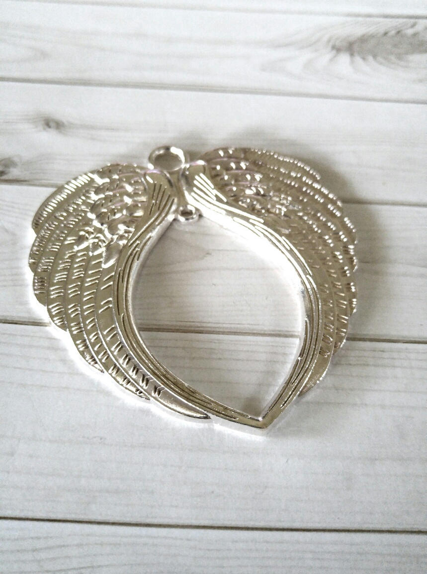 Large Angel Wing Pendant Wing Pendant-74mm Large Ornate Focal Pendant Jumbo Wing Pendant Shiny Silver Angel Wing