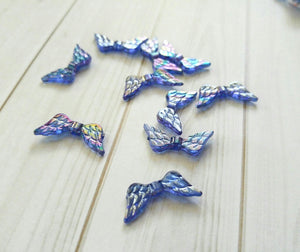 Angel Wing Beads Angel Wing Charms Acrylic Beads Wing Spacer Beads Blue Beads Blue Angel Wings 10 pieces