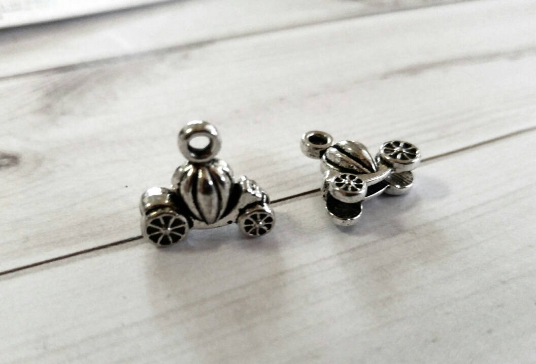 Fairy Tale Charms Pumpkin Carriage Silver Charms Set Antiqued Silver 3D Charms Pumpkin Charms 6pcs