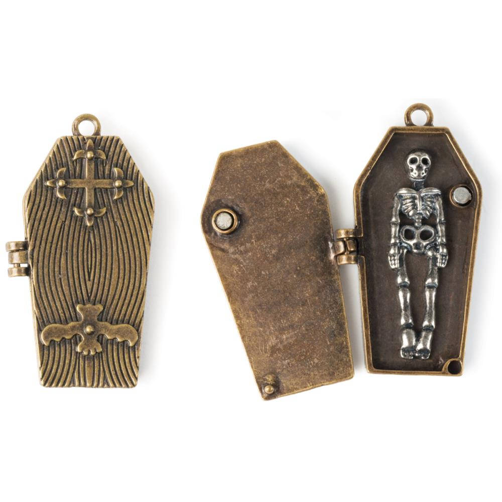 Coffin Pendant Antiqued Bronze Moveable Pendant Locket Gothic Pendant Halloween Charm