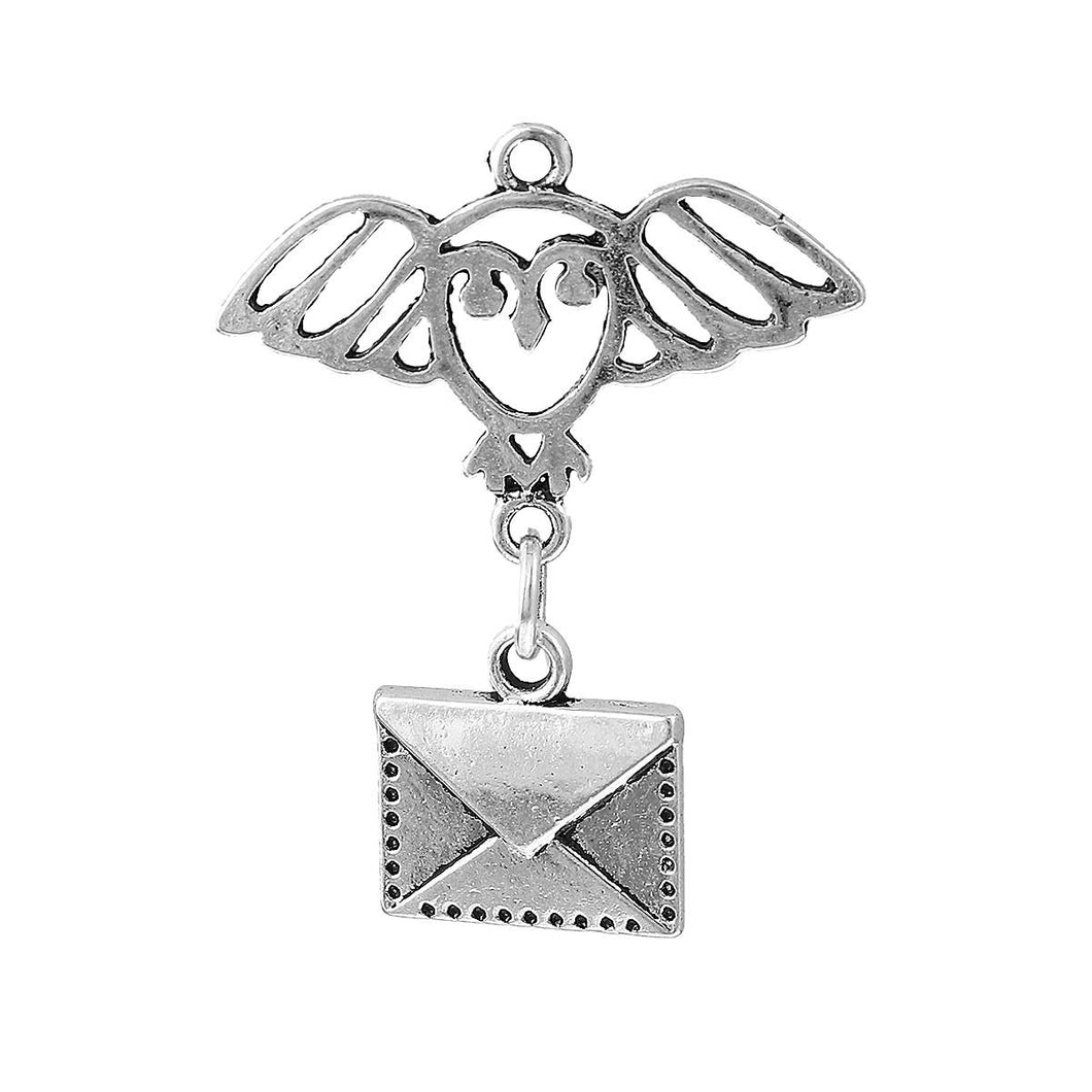 Owl Charm Pendant Antiqued Silver Charm Envelope Charm Flying Owl Nature Charm Filigree