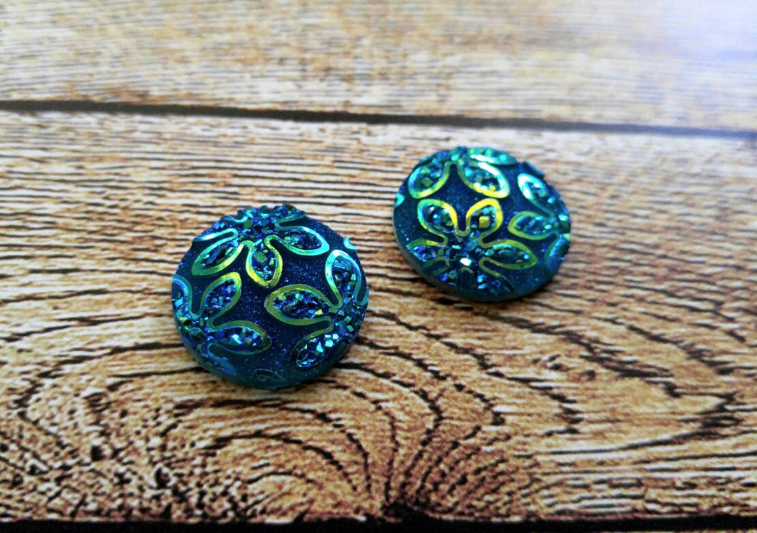 Round Cabochons 18mm Resin Cabochons Floral Flatbacks Circle Cabochons Teal Blue Green 2 pieces
