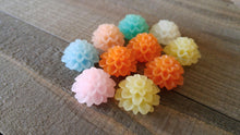 Load image into Gallery viewer, Flower Cabochons 20mm Resin Flowers Large Mum Cabochons Chrysanthemum Flatbacks Spring Mix Flat Back Cabochons 10pcs