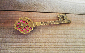 Skeleton Key Pendant Antiqued Bronze Key Flower Key Charm Hot Pink Peony Flower Big Key Steampunk Key 68mm
