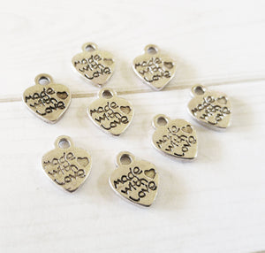 Heart Charms Jewelry Tags Made with Love Charms Antiqued Silver Made with Love Heart 100pcs