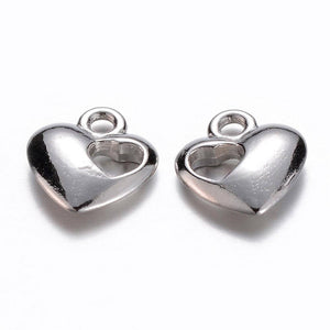 Heart Charms Silver Heart Charms Bulk Charms Silver Charms Wholesale Charms 20pcs Heart Pendants Valentines Day Love Charms 13mm