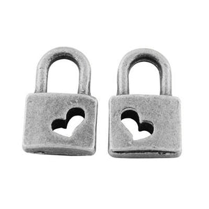 Padlock Charms Silver Lock Charms BULK Charms Keyhole Charms Steampunk Charms Heart Lock Charms Miniature Charms Wholesale Charms 100 pieces