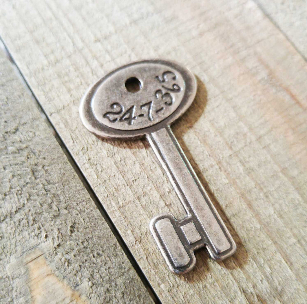 Silver Key Pendant Antiqued Silver Skeleton Key Charm Steampunk Key 24/7 Charm 2 Sided Silver Pendant