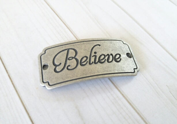Word Connector Link Believe Pendant Word Band Quote Pendant Link Antiqued Silver Word Pendant
