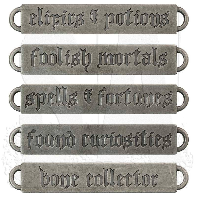 Quote Pendant Connectors Antiqued Silver Oil Brushed Finish Halloween Word Pendants Word Bands 5pcs