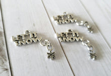 Load image into Gallery viewer, Word Charms Antiqued Silver Word Pendants LET IT SNOW Charms Dangle Charms Snowflake Charms Winter Charms 4 pieces