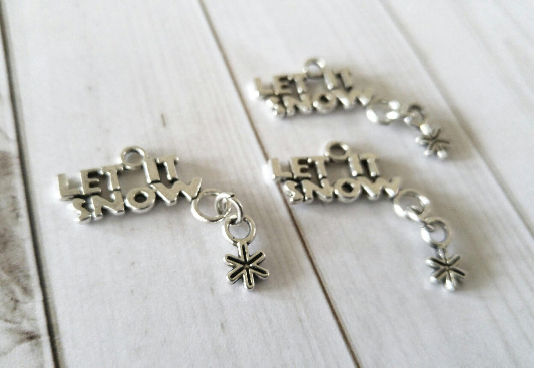Word Charms Antiqued Silver Word Pendants LET IT SNOW Charms Dangle Charms Snowflake Charms Winter Charms 4 pieces