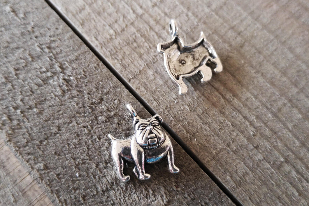 Bulldog Charms Antiqued Silver Dog Charms Dog Pendants Puppy Charms 2pcs 18mm