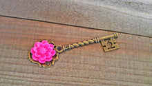 Load image into Gallery viewer, Skeleton Key Pendant Antiqued Bronze Key Flower Key Charm Hot Pink Peony Flower Big Key Steampunk Key 68mm