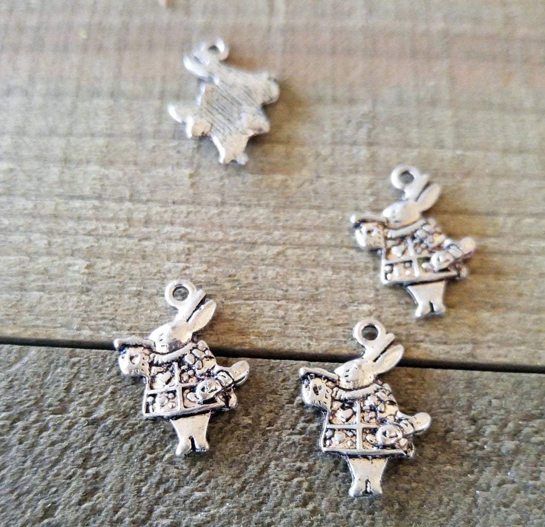 Rabbit Charms Antiqued Silver Rabbit Pendants Herald Rabbit Fairy Tale Charms 5 pieces