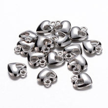 Load image into Gallery viewer, Heart Charms Silver Heart Charms Bulk Charms Silver Charms Wholesale Charms 20pcs Heart Pendants Valentines Day Love Charms 13mm