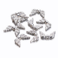 Load image into Gallery viewer, Angel Wing Beads Angel Wing Charms Silver Metal Beads Wing Spacer Beads Silver Beads Silver Angel Wings 10 pieces