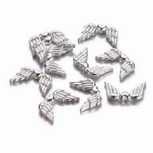 Angel Wing Beads Angel Wing Charms Silver Metal Beads Wing Spacer Beads Silver Beads Silver Angel Wings 10 pieces