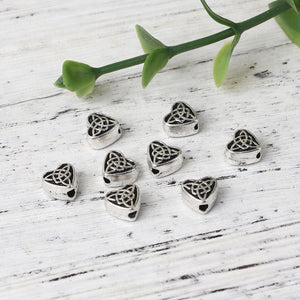 Heart Beads Antiqued Silver Heart Beads Celtic Knot Beads Metal Heart Beads Spacer Beads 6.5mm 10 pieces