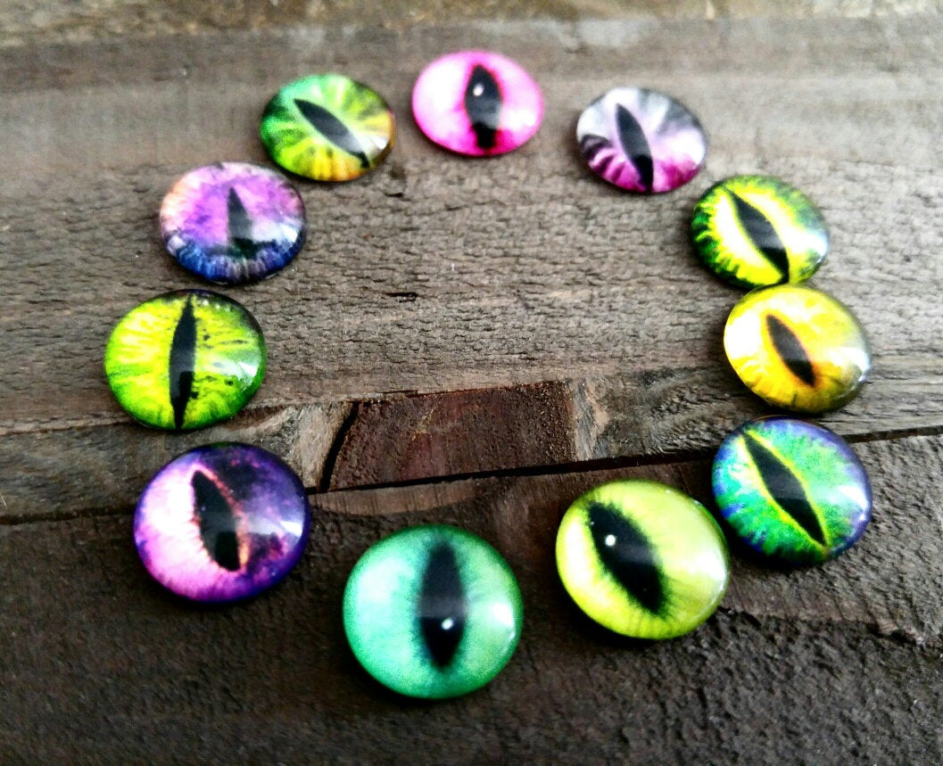 Eye Cabochons Round Glass Cabochons 12mm Flat Back Cabochons Dragon Eye Flatbacks Assorted 4pcs