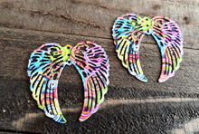 Load image into Gallery viewer, Large Angel Wing Pendants Wing Charms Rainbow Angel Wings Rainbow Charms 40mm 2pcs