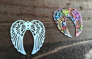 Large Angel Wing Pendants Wing Charms Rainbow Angel Wings Rainbow Charms 40mm 2pcs