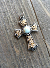 "Load image into Gallery viewer, Large Cross Pendant Antiqued Silver Gold Cross Charm Turquoise Charm Vintage Style Focal Pendant Religious Charm 1 5/8"" PREORDER"