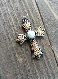 "Large Cross Pendant Antiqued Silver Gold Cross Charm Turquoise Charm Vintage Style Focal Pendant Religious Charm 1 5/8"" PREORDER"