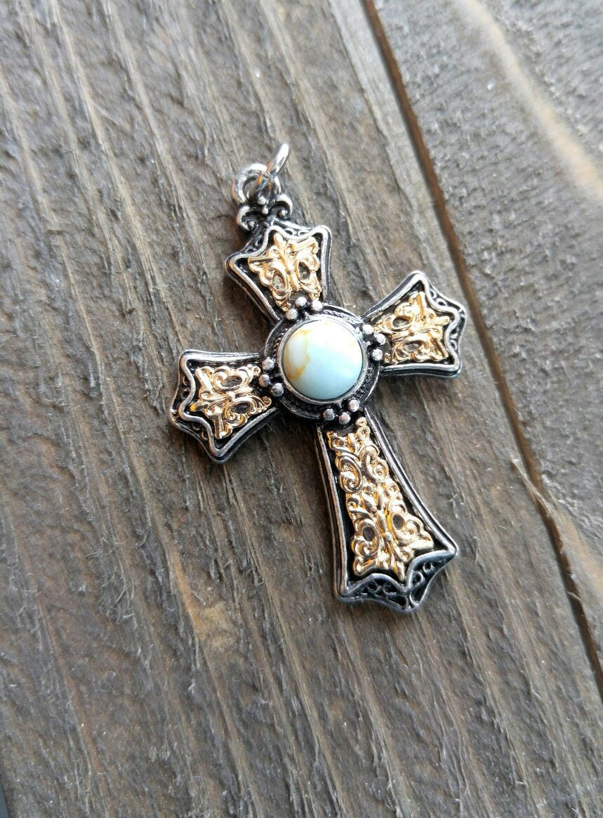 Large Cross Pendant Antiqued Silver Gold Cross Charm Turquoise Charm Vintage Style Focal Pendant Religious Charm 1 5/8
