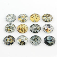 Load image into Gallery viewer, Glass Cabochons Circle Cabochons Steampunk Flat Backs Assorted Mix 20mm Glass Domes Flatbacks