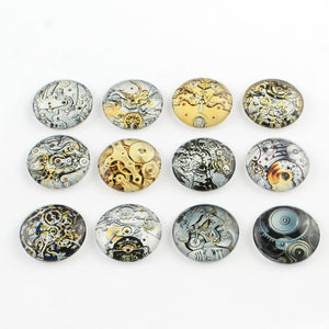 Glass Cabochons Circle Cabochons Steampunk Flat Backs Assorted Mix 20mm Glass Domes Flatbacks