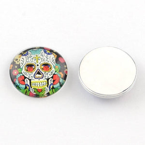 Glass Cabochons Circle Cabochons Sugar Skull Flat Backs Calavera Day of the Dead Assorted Mix 20mm Glass Domes Flatbacks 4pcs