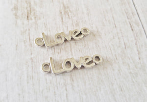 Word Charms Love Connector Charms Antiqued Silver Love Word Charms Silver Love Charms Connector Pendants 10pcs