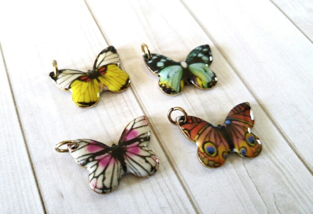 Butterfly Charms Enamel Charms Butterfly Pendants Assorted Charms Set with Jump Rings Antiqued Gold Charms Spring Garden Charms 4pcs PRE