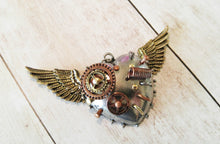 "Load image into Gallery viewer, Steampunk Pendant Flying Heart Charm Gears Pendant Steampunk Gears Heart with Wings Focal Pendant Winged Heart 3"" PREORDER"