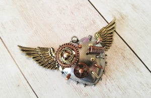 "Steampunk Pendant Flying Heart Charm Gears Pendant Steampunk Gears Heart with Wings Focal Pendant Winged Heart 3"" PREORDER"