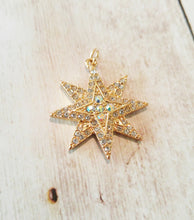 "Load image into Gallery viewer, Gold Star Pendant Star Charm Rhinestone Star 8 Point Star Rhinestone Charm Glittery Charm Octogram Pendant 1.25"" PREORDER"