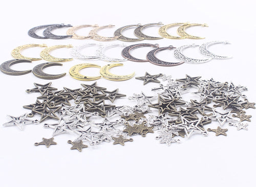 Moon Charms Moon Pendants Star Charms Star Pendants Assorted Charms Set Antiqued Silver Gold Bronze BULK Charms Wholesale Charms 100pcs