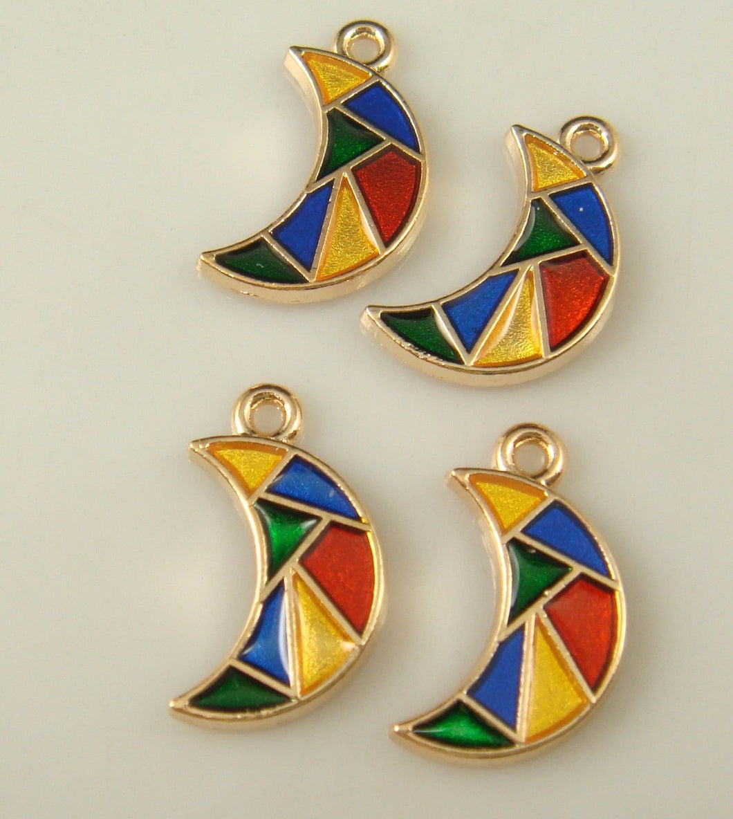 Moon Charms Gold Moon Charms Moon Pendants Crescent Moon Charm Enamel Charms Half Moon Charms 2pcs