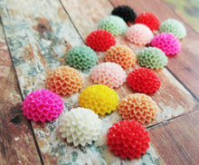 Load image into Gallery viewer, Flower Cabochons Assorted Colors Resin Flower Cabochons Mum Cabochons Chrysanthemum 15mm 100 pieces Bulk Wholesale