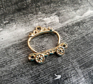 Carriage Charm Connector Gold Fairy Tale Charm Carriage Pendant Connector Link Fairy Tale Pendant Gold Charm 1 1/8""