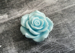 Flower Cabochon Large Flower Flat Back Mint Blue Flower Cabochon Rose Cabochon Resin Flower 45mm